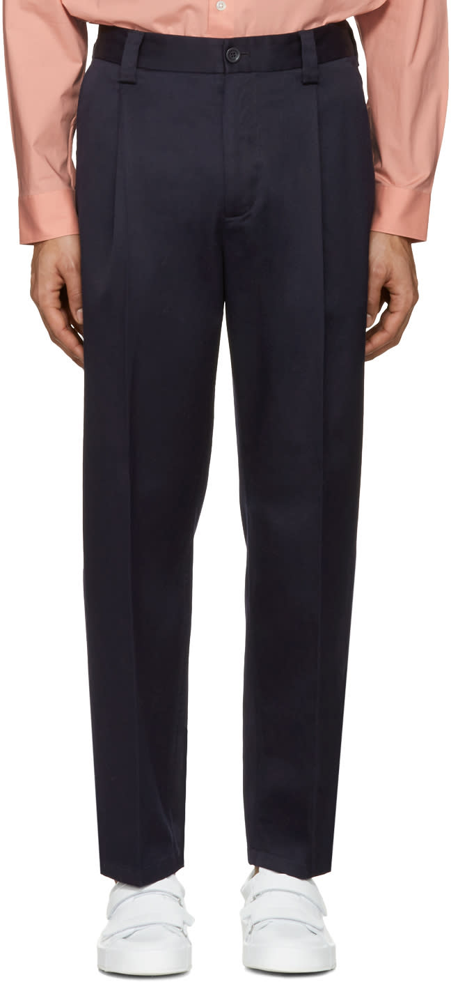 Acne Studios Navy Cotton Abram Trousers
