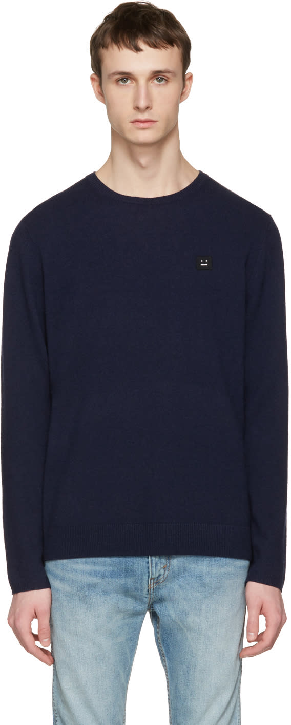 Acne Studios Navy Dasher O Face Sweater