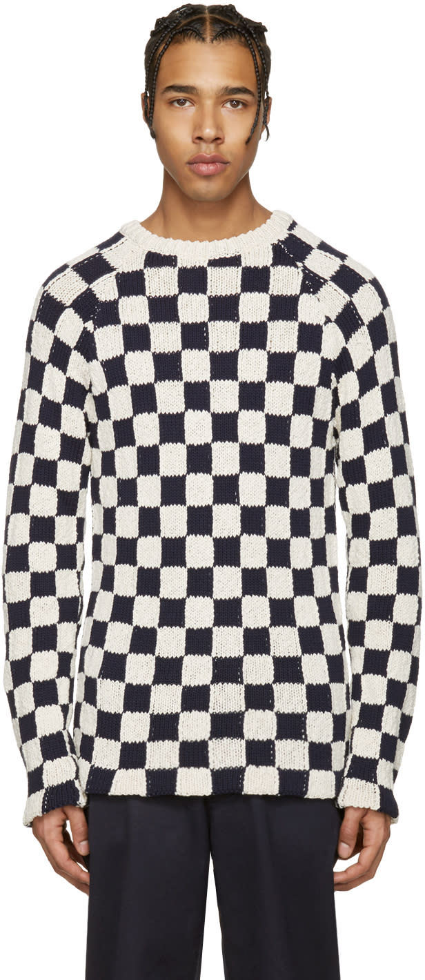 Acne Studios Off-white and Navy Korus Check Sweater
