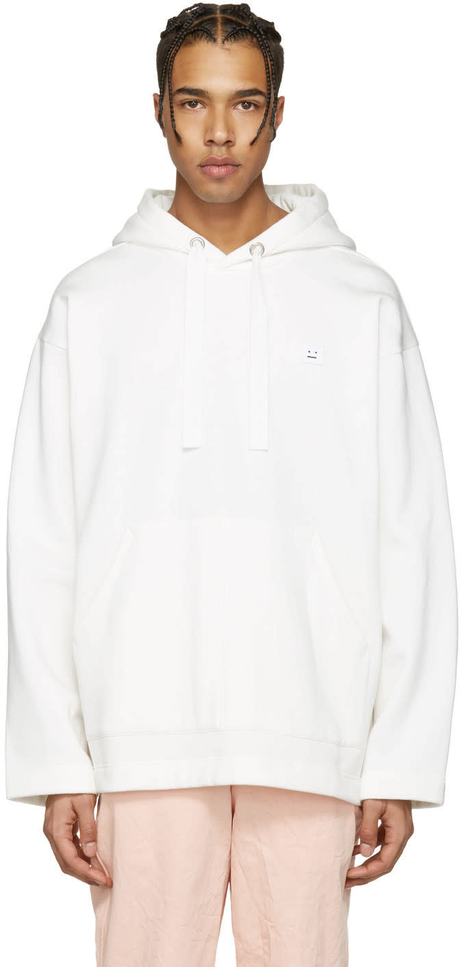 Acne Studios White Floral Face Hoodie