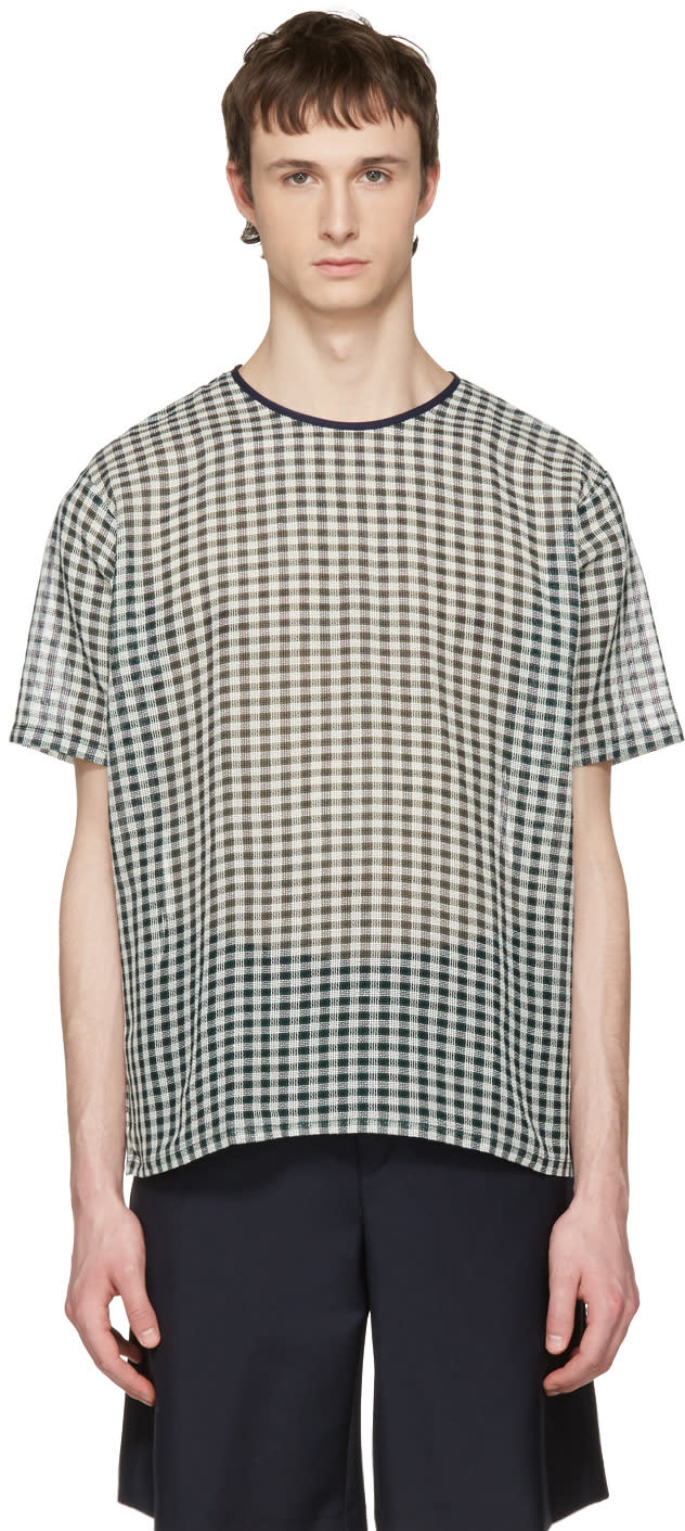 Acne Studios Green Redwood B Check T-shirt