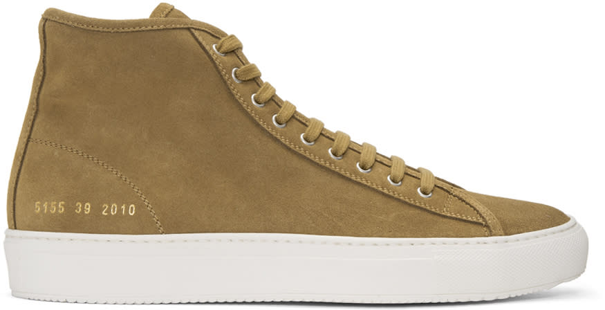 Common Projects Brown Suede Tournament High Sneakers