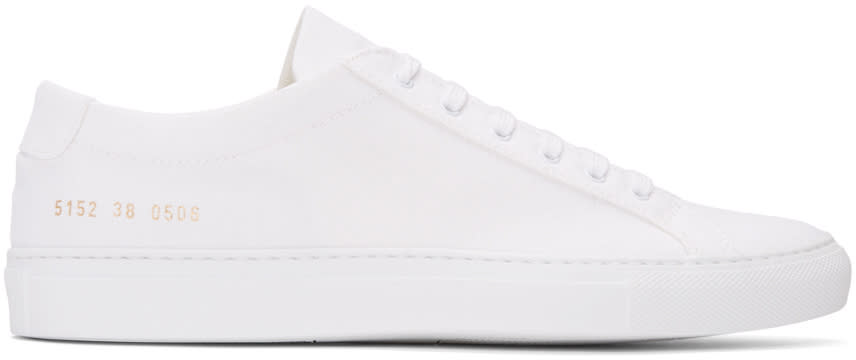 Common Projects White Canvas Achilles Low Sneakers