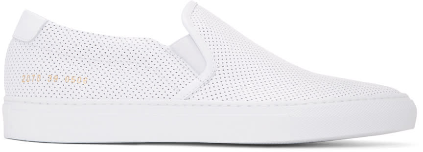 Common Projects White Perforated Slip-on Sneakers