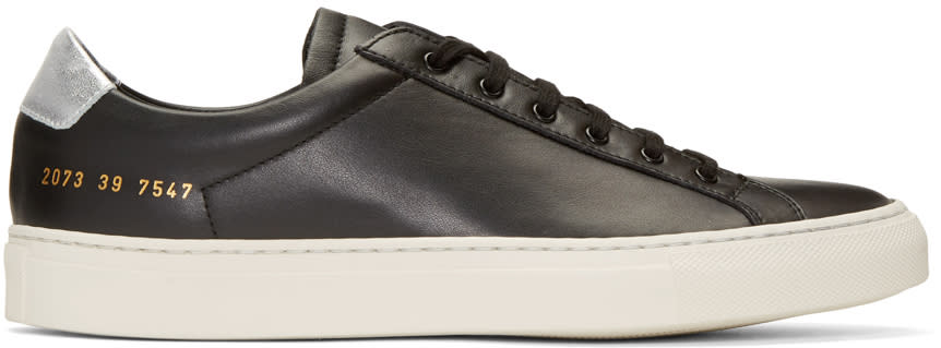 Image of Common Projects Black and Silver Achilles Retro Low Sneakers