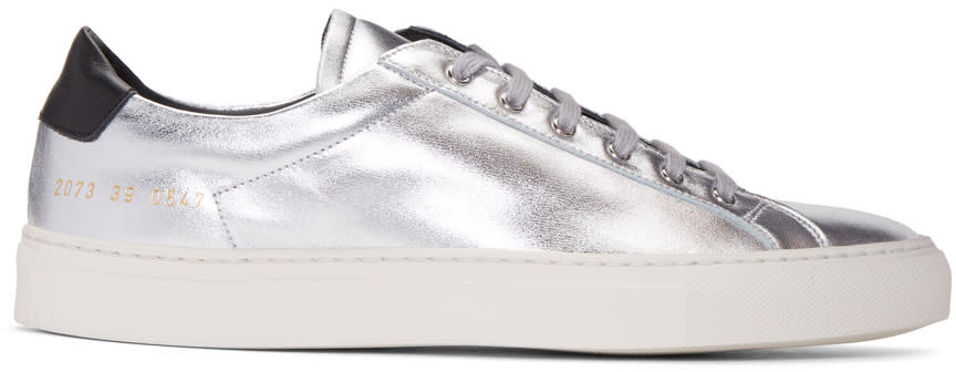 Common Projects Silver and Black Achilles Retro Low Sneakers