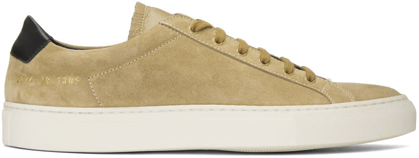 Common Projects Tan Suede Achilles Retro Low Sneakers