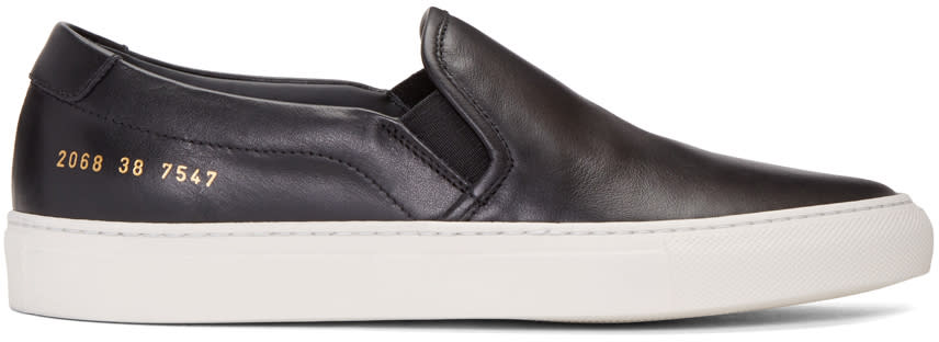 Image of Common Projects Black Retro Slip-on Sneakers