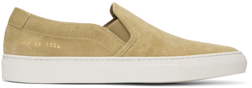 Common Projects Tan Suede Retro Slip-on Sneakers
