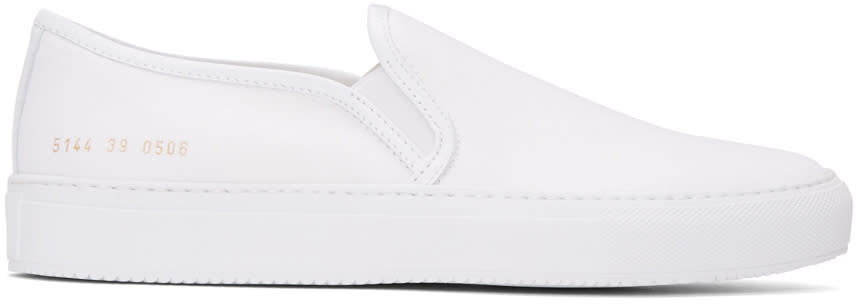 Common Projects White Canvas Tournament Slip-on Sneakers