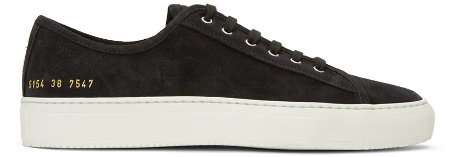 Image of Common Projects Black Suede Tournament Low Sneakers