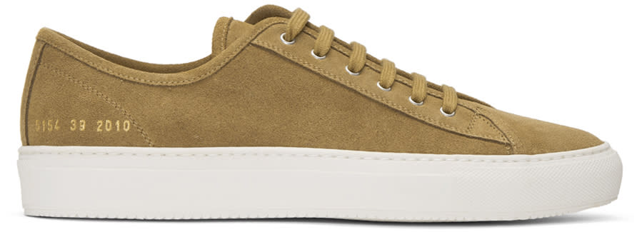 Common Projects Tan Suede Tournament Low Sneakers