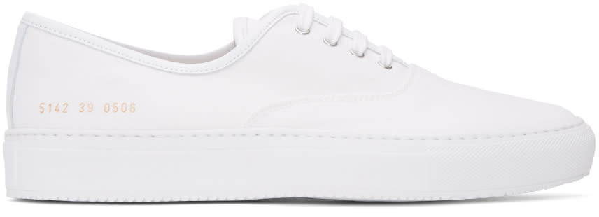 Common Projects White Canvas Tournament Four Hole Sneakers