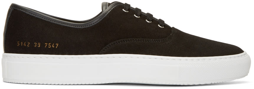 Image of Common Projects Black Canvas Tournament Four Hole Sneakers