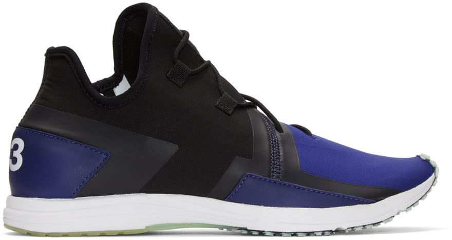 Y-3 Black and Blue Arc Rc Sneakers
