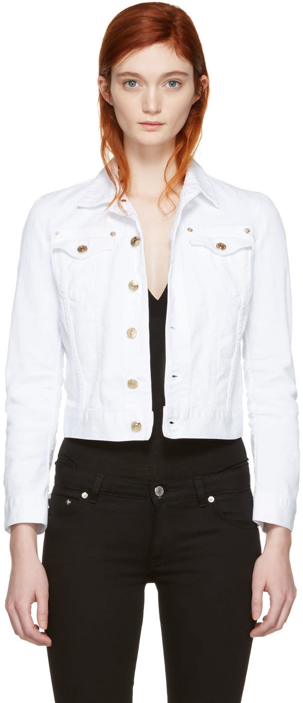 Dsquared2 White Cropped Denim Jacket
