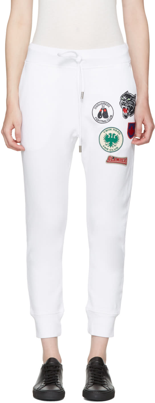 Dsquared2 White Classic Patches Lounge Pants