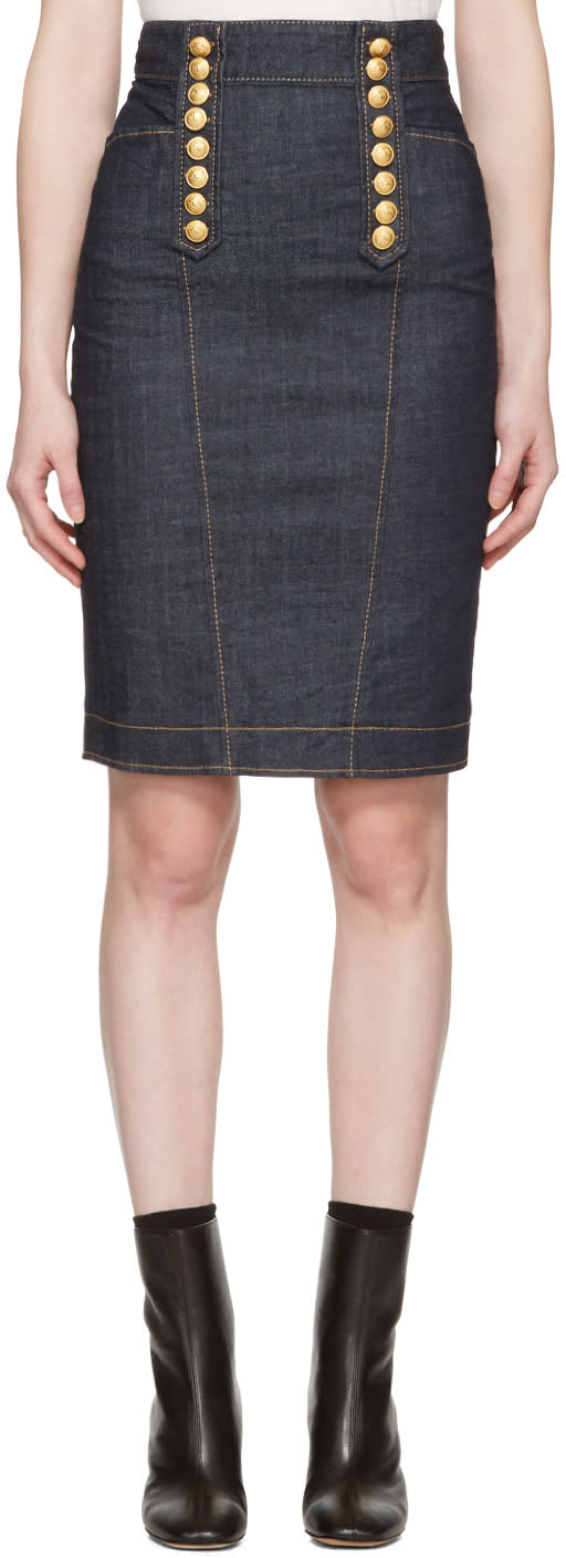 Dsquared2 Blue Denim Livery Pencil Skirt