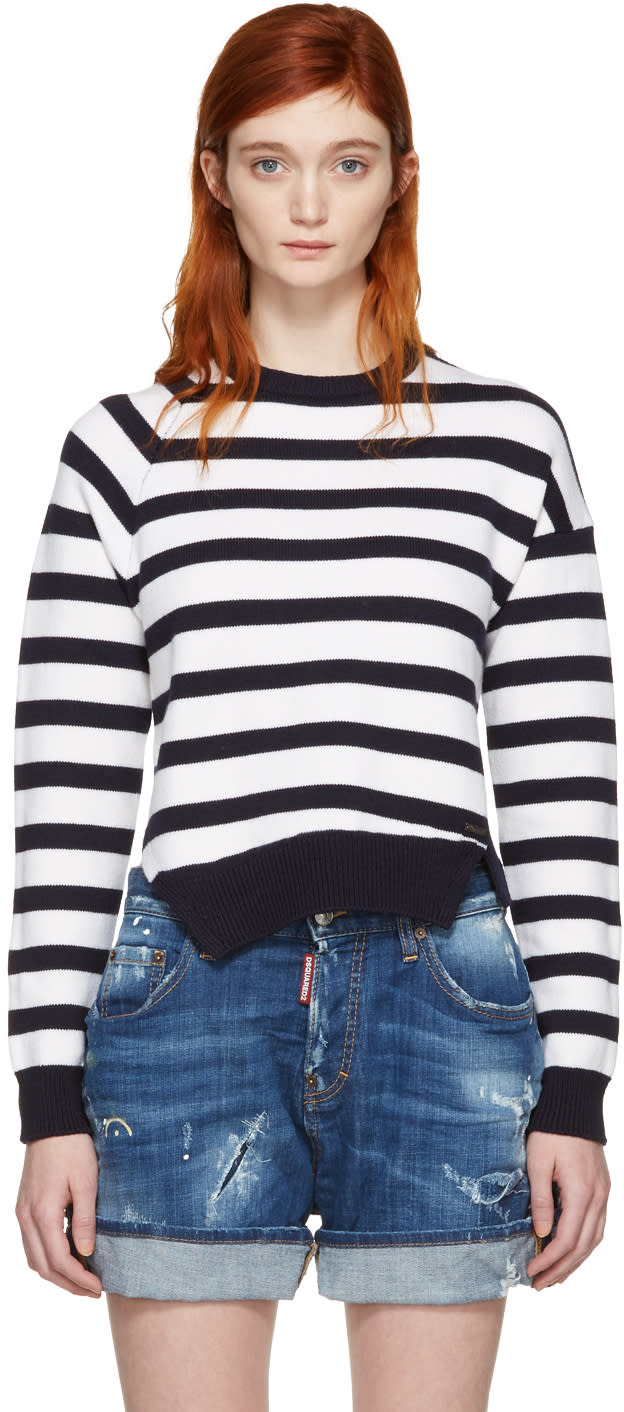 Dsquared2 White and Navy Striped Sweater