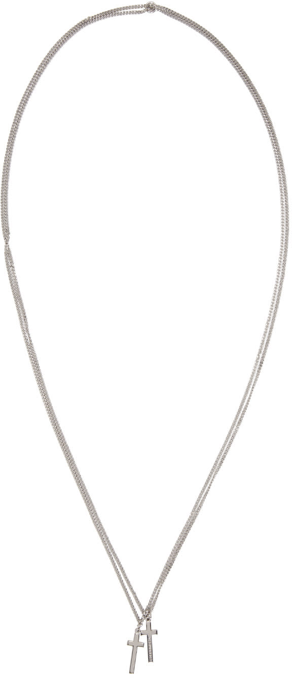 Dsquared2 Silver Double Cross Necklace
