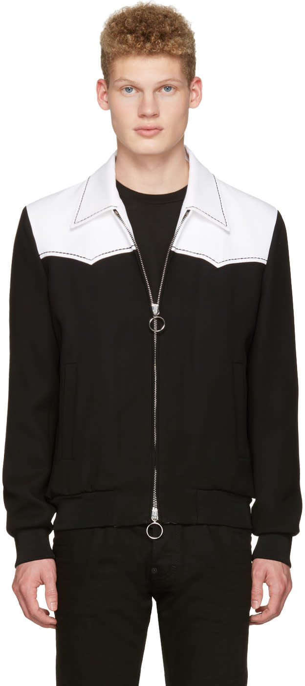 Image of Dsquared2 Black and White Chic Western Bomber Jacket