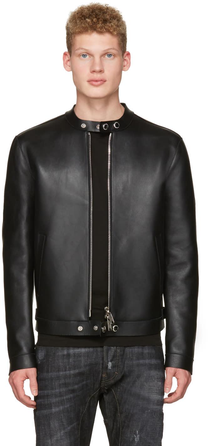Image of Dsquared2 Black Bonded Leather Biker Jacket