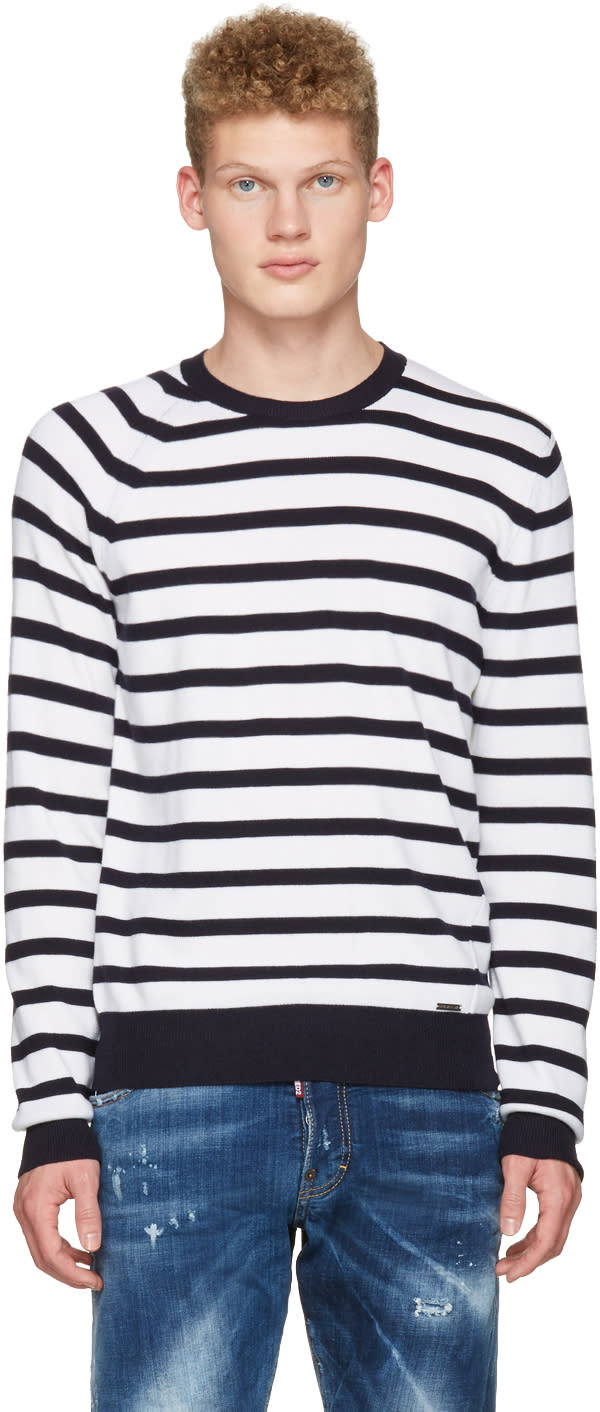 Dsquared2 White Striped Pullover