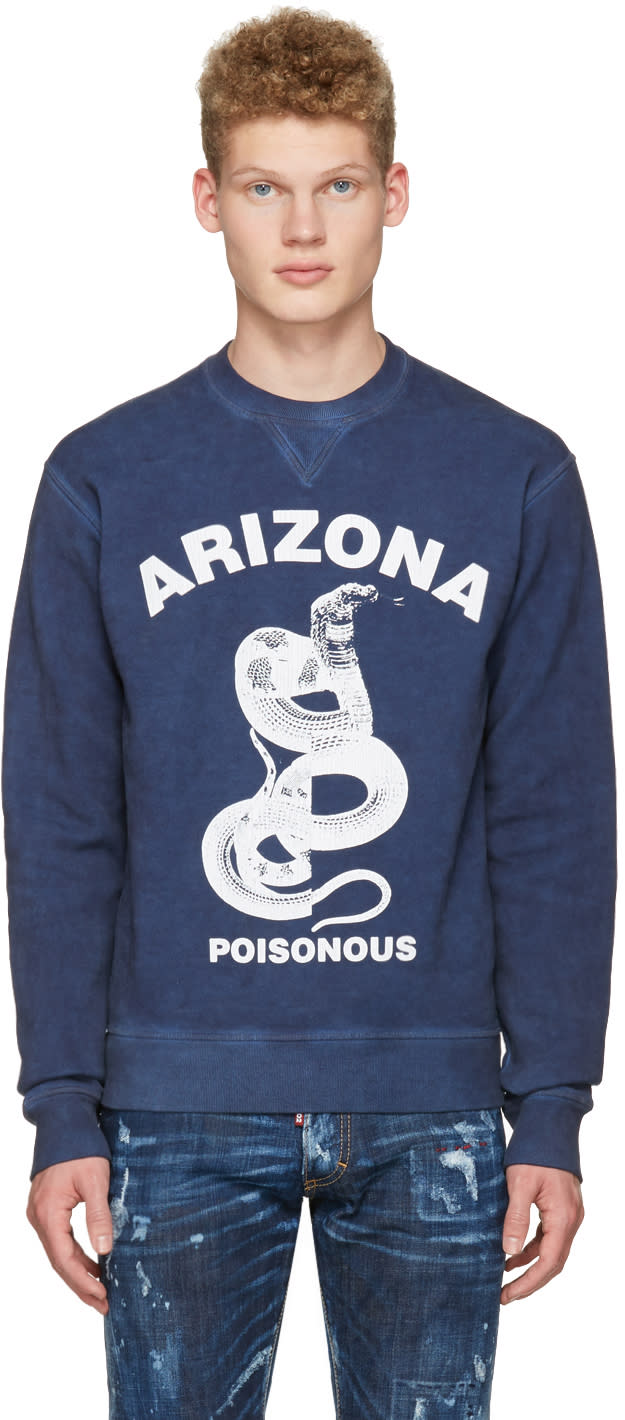 Dsquared2 Navy Dean Fit Snake Pullover