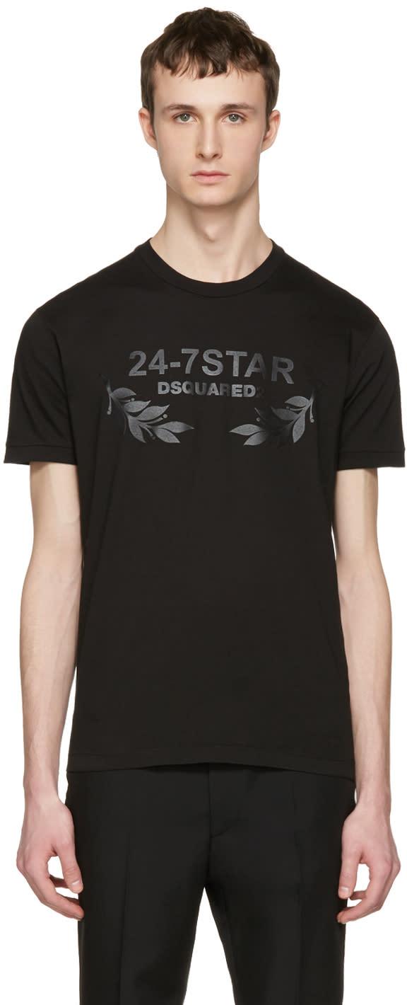 Image of Dsquared2 Black 24-7 Star Logo T-shirt