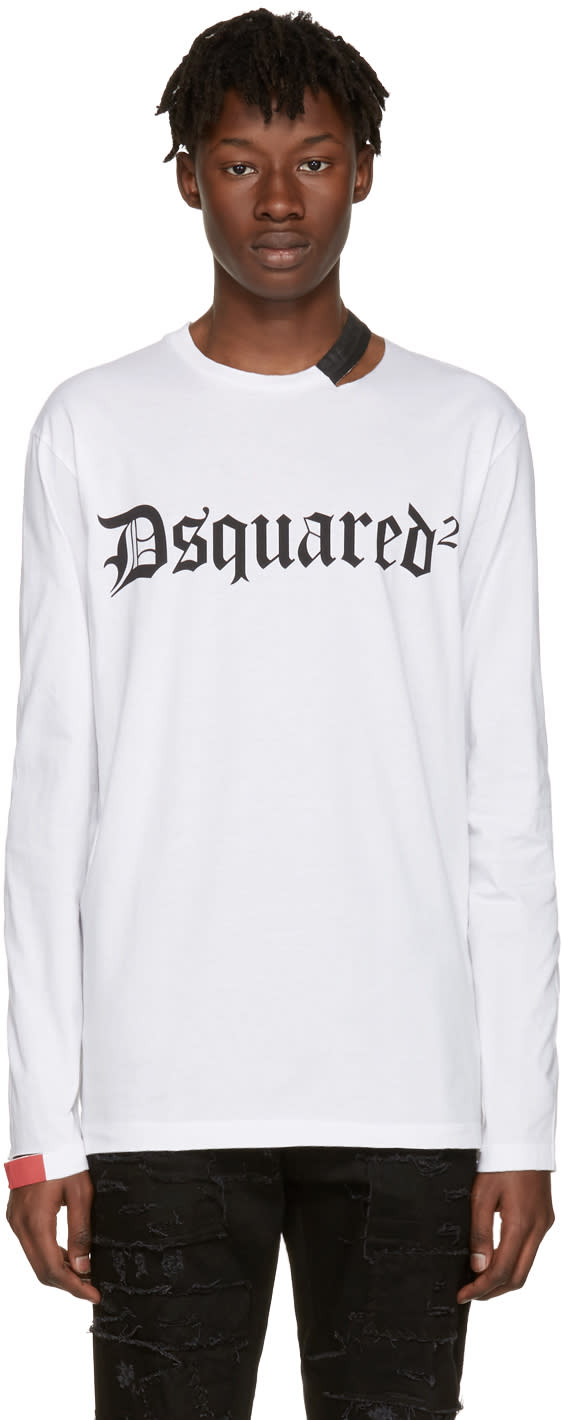 Dsquared2 White Cut-out Logo T-shirt