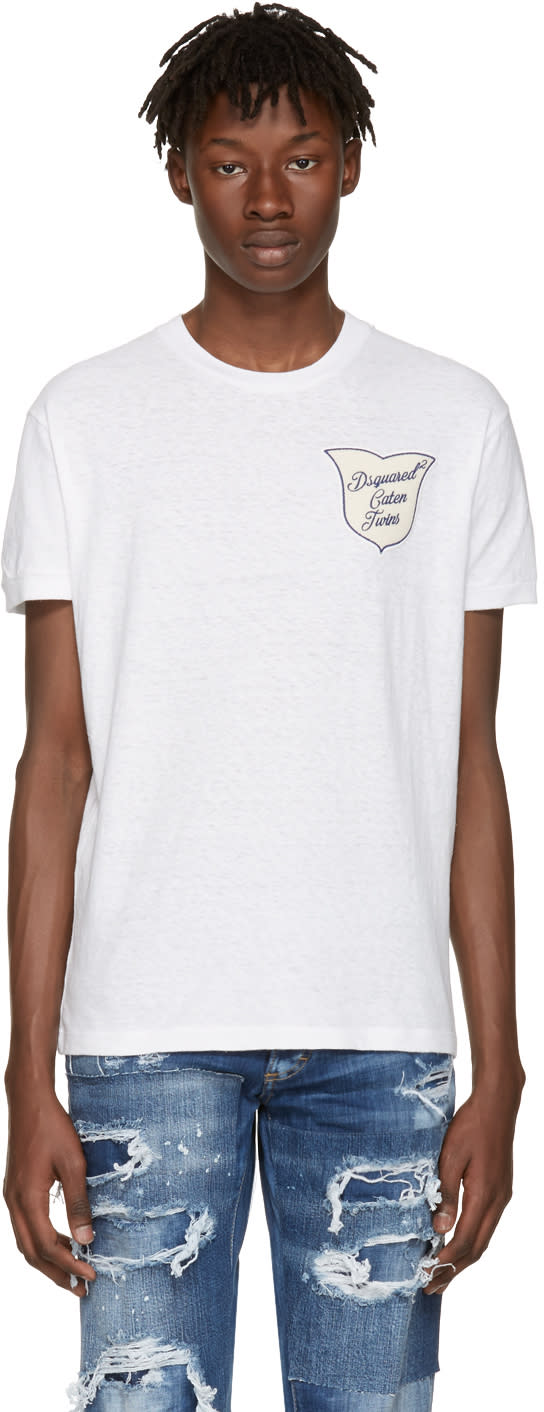 Dsquared2 White caten Twins Patch T-shirt