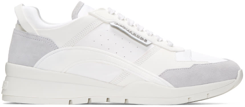 Dsquared2 White Gommato and Velour Sneakers