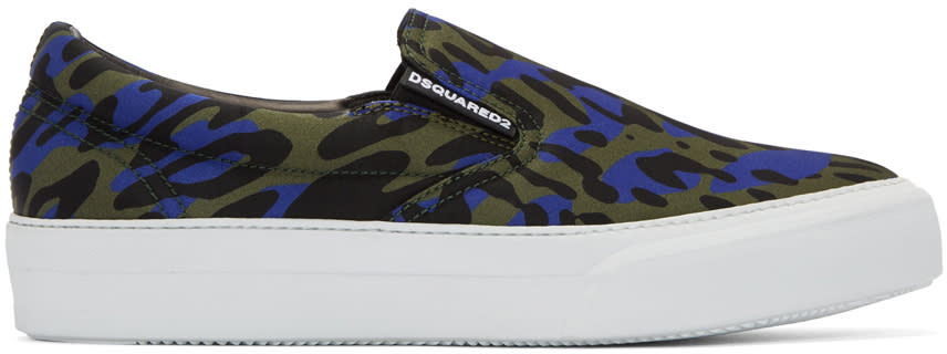 Dsquared2 Blue Glam Camo Slip-on Sneakers