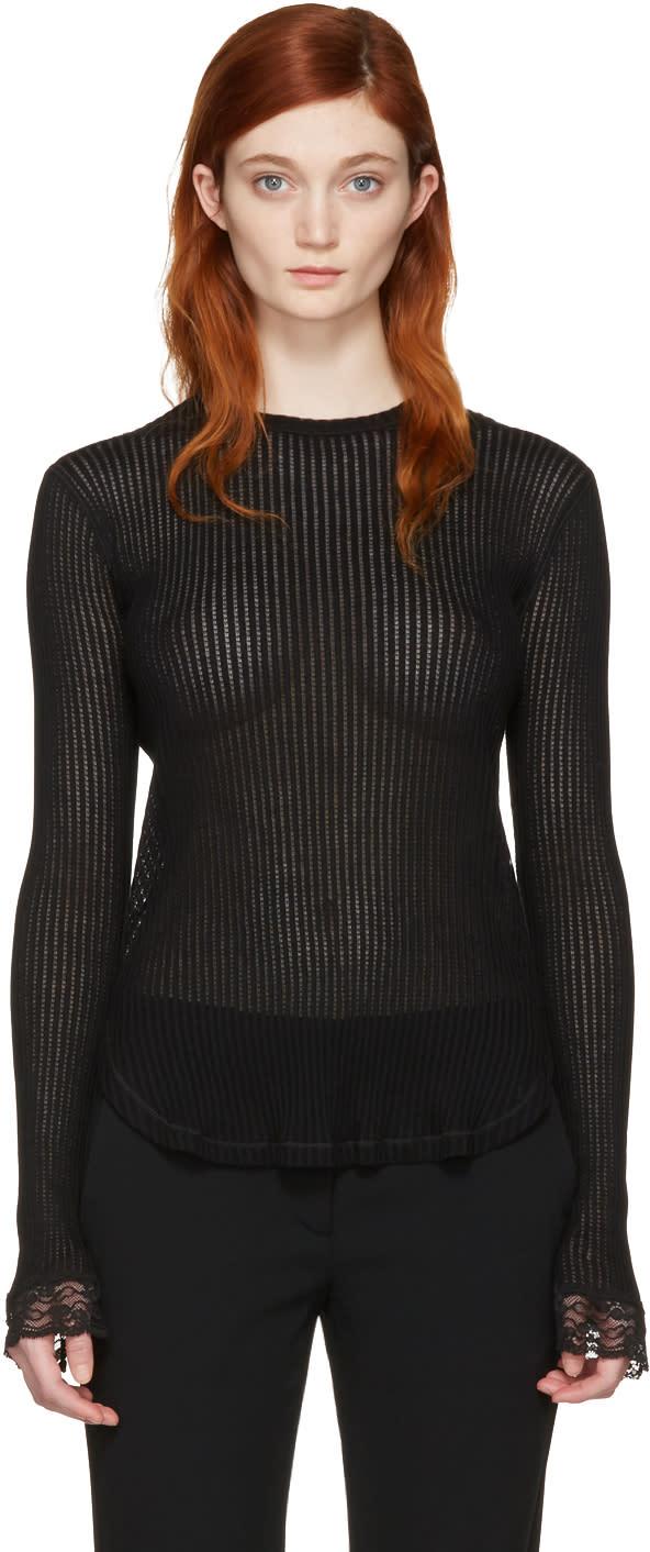 Helmut Lang Black Lingerie Knit Pullover