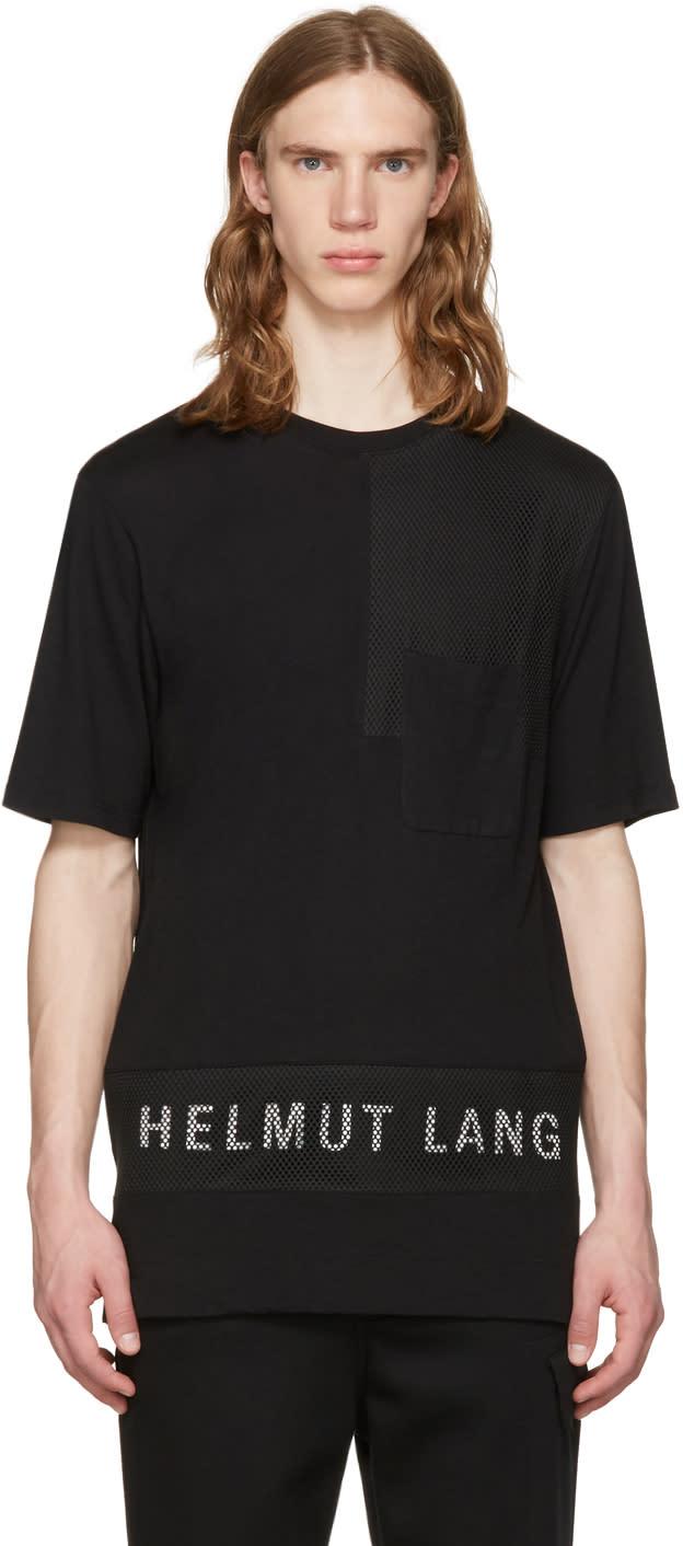 Helmut Lang Black Mesh Combo Logo T-shirt