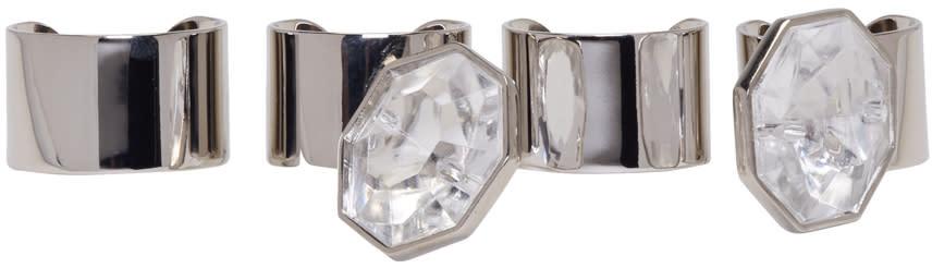 Maison Margiela Set Of Silver Crystal Rings