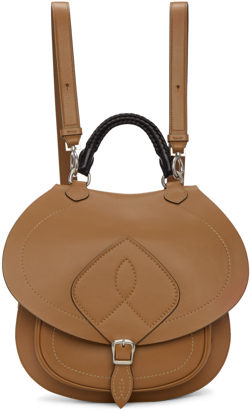 Maison Margiela Brown Leather Satchel Backpack
