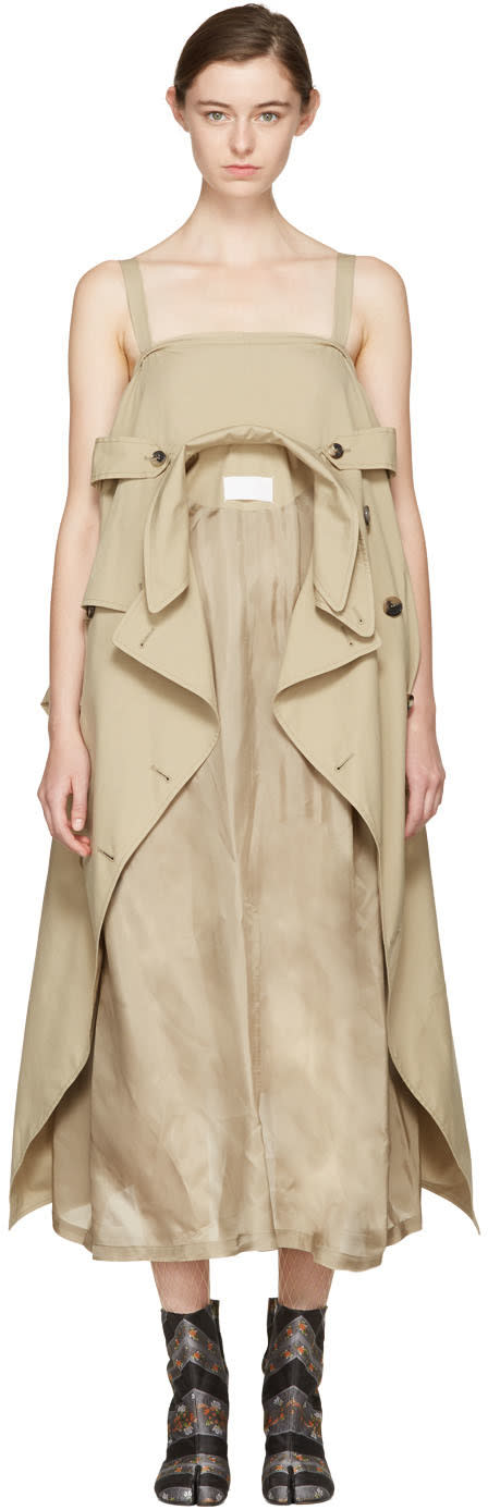 Image of Maison Margiela Beige Oversized Trench Dress