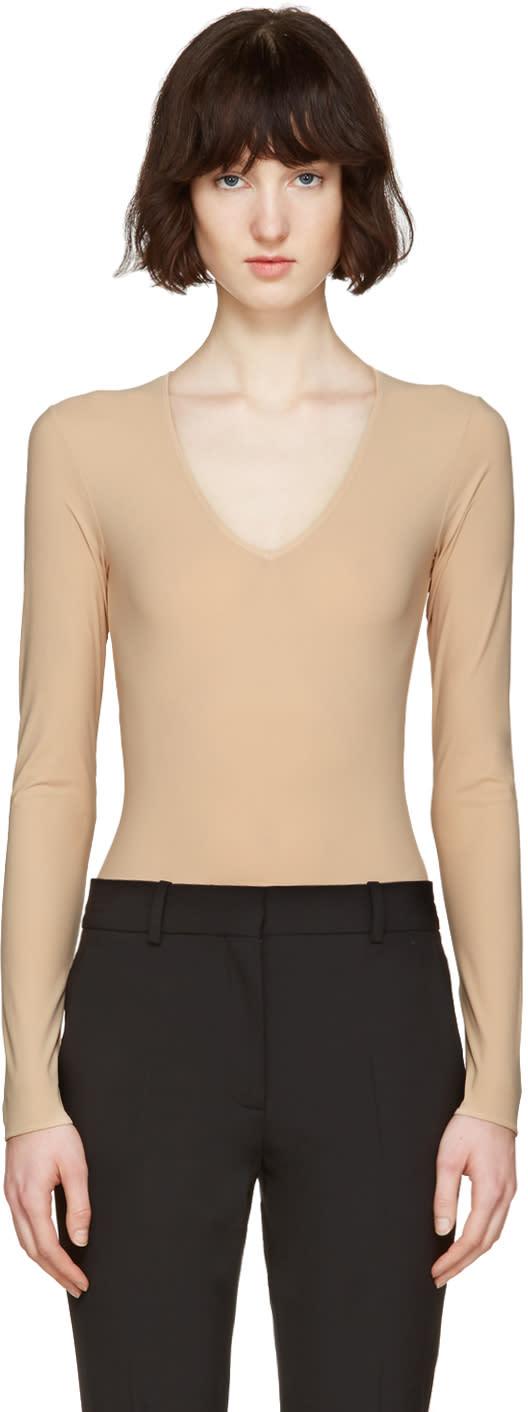 Maison Margiela Beige V-neck Bodysuit