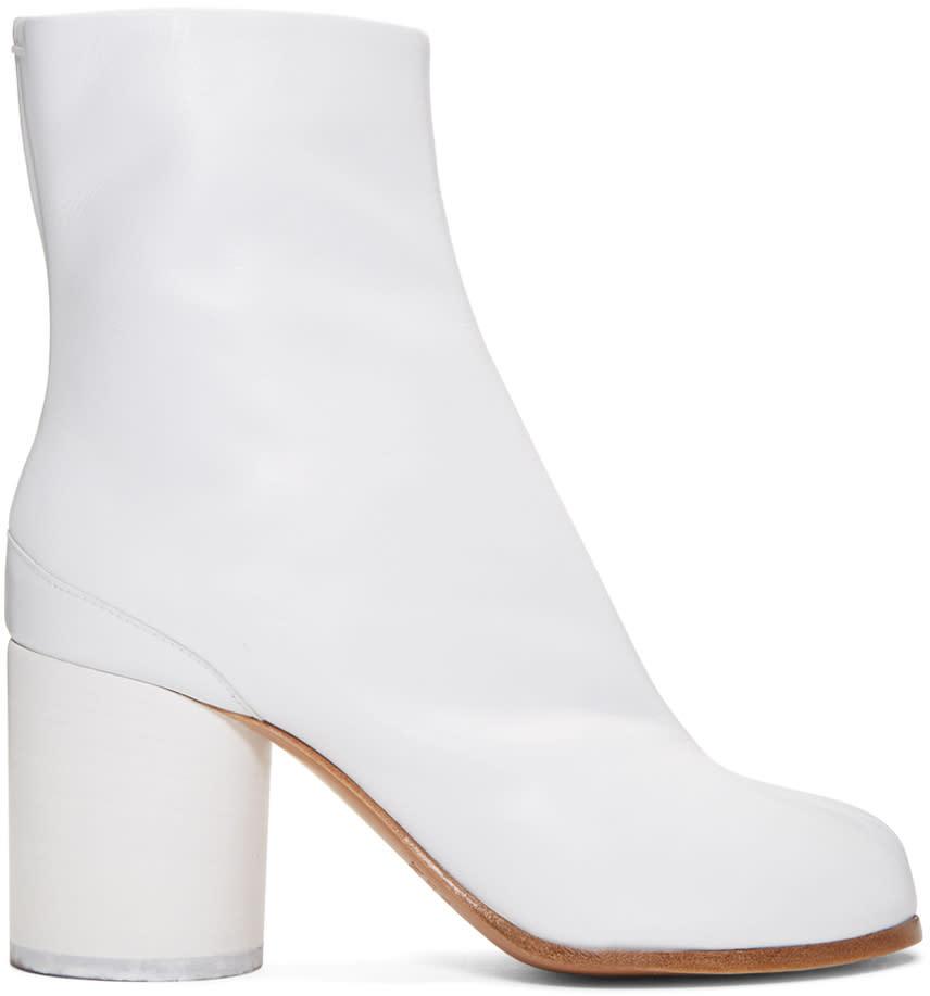 Maison Margiela White Leather Tabi Boots