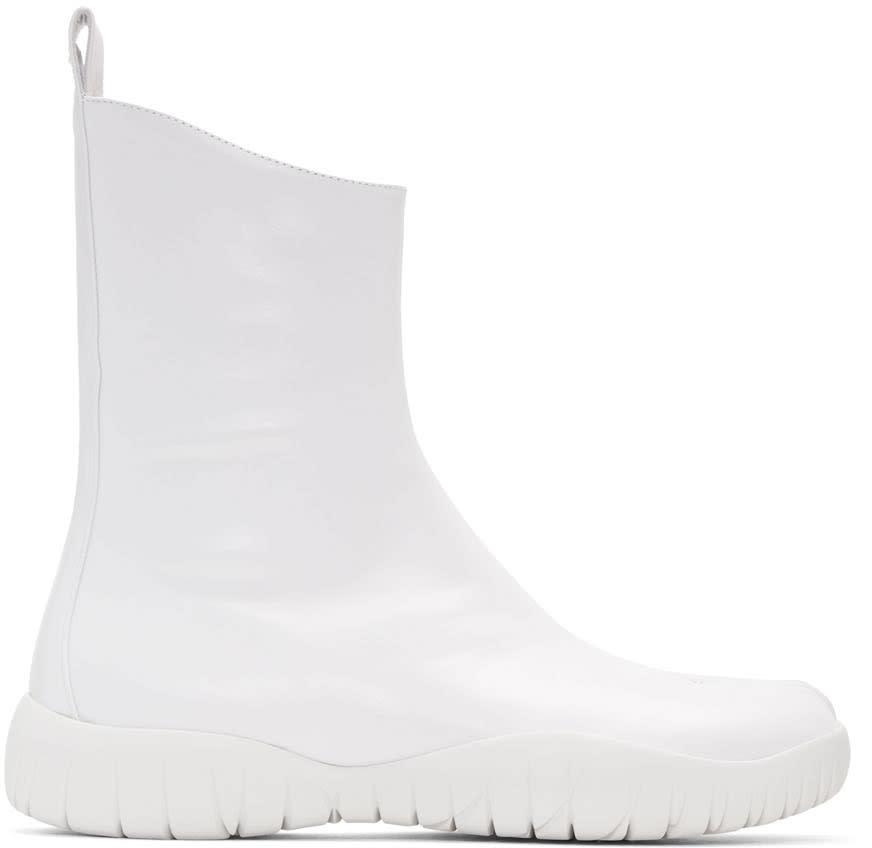 Maison Margiela White Flat Tabi Boots