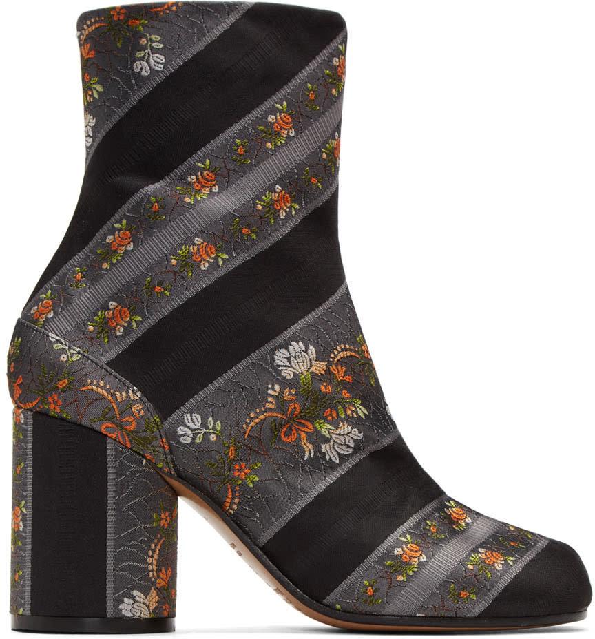 Maison Margiela Grey Jacquard Floral Tabi Boots