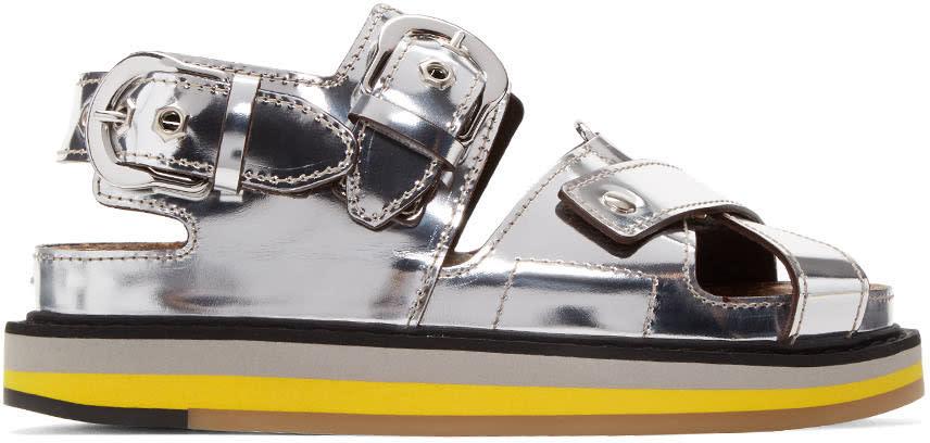 Maison Margiela Silver Mirror Leather Sandals