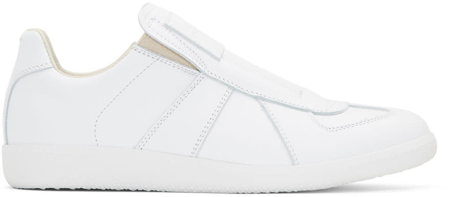 Maison Margiela White Laceless Replica Slip-on Sneakers