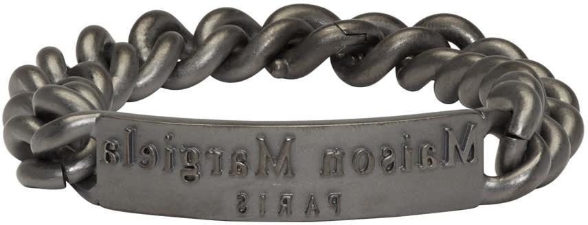 Maison Margiela Gunmetal Logo Id Bracelet