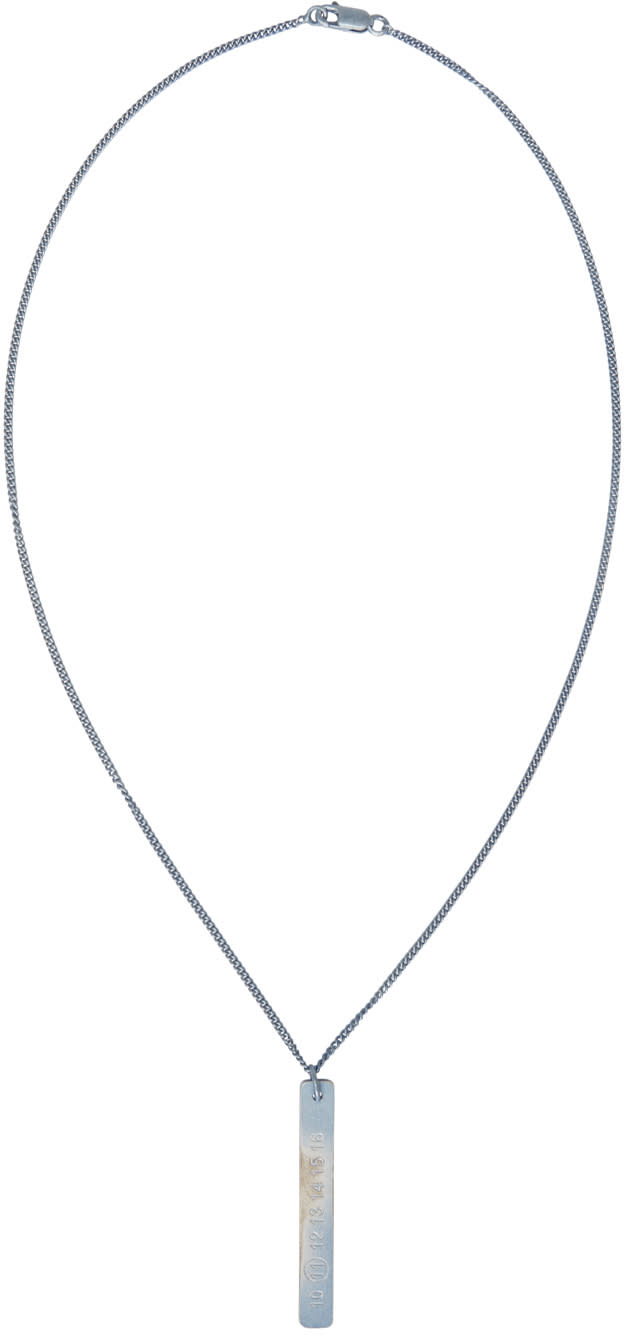 Maison Margiela Silver and Blue Logo Pendant Necklace