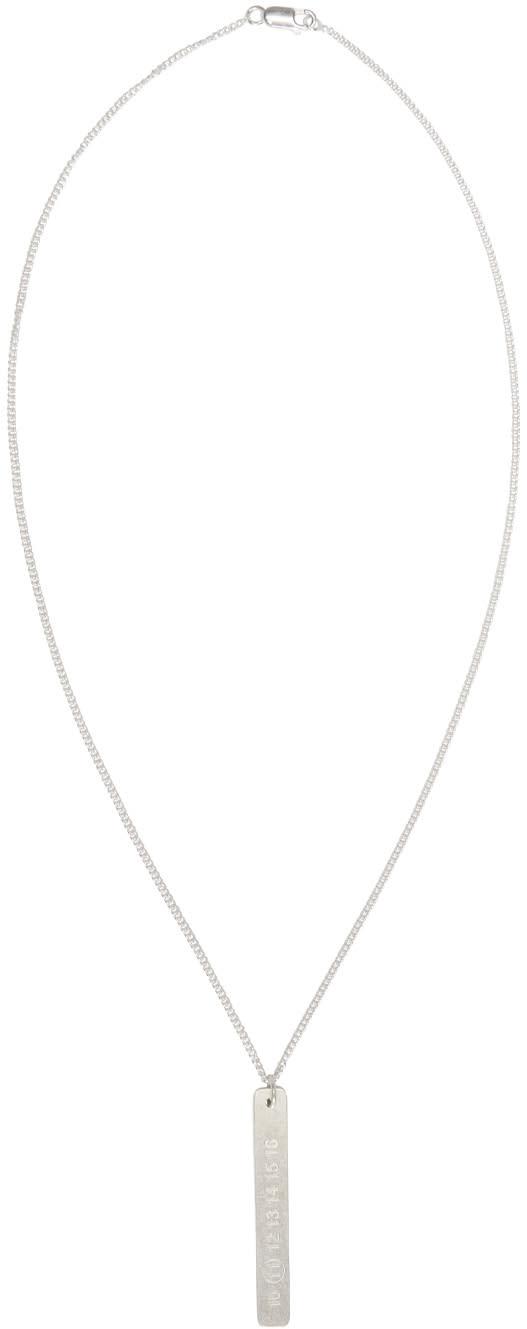 Maison Margiela Silver Logo Pendant Necklace