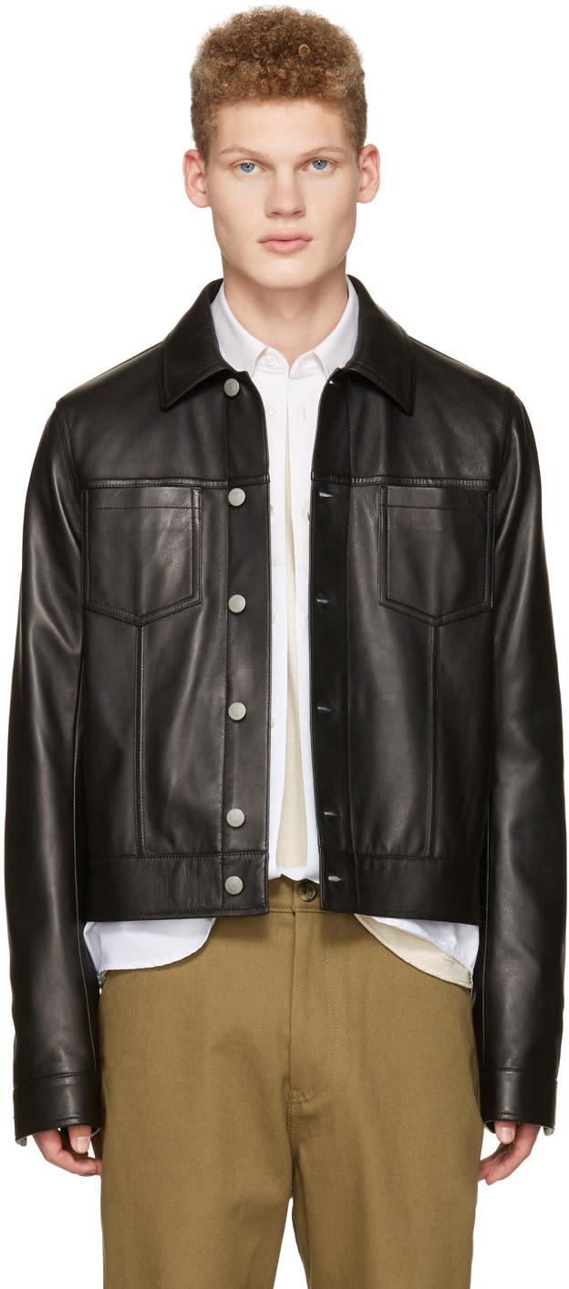 Maison Margiela Black Leather Trucker Jacket