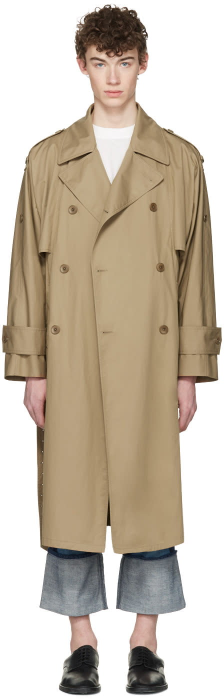 Image of Maison Margiela Beige Oversized Trench Coat
