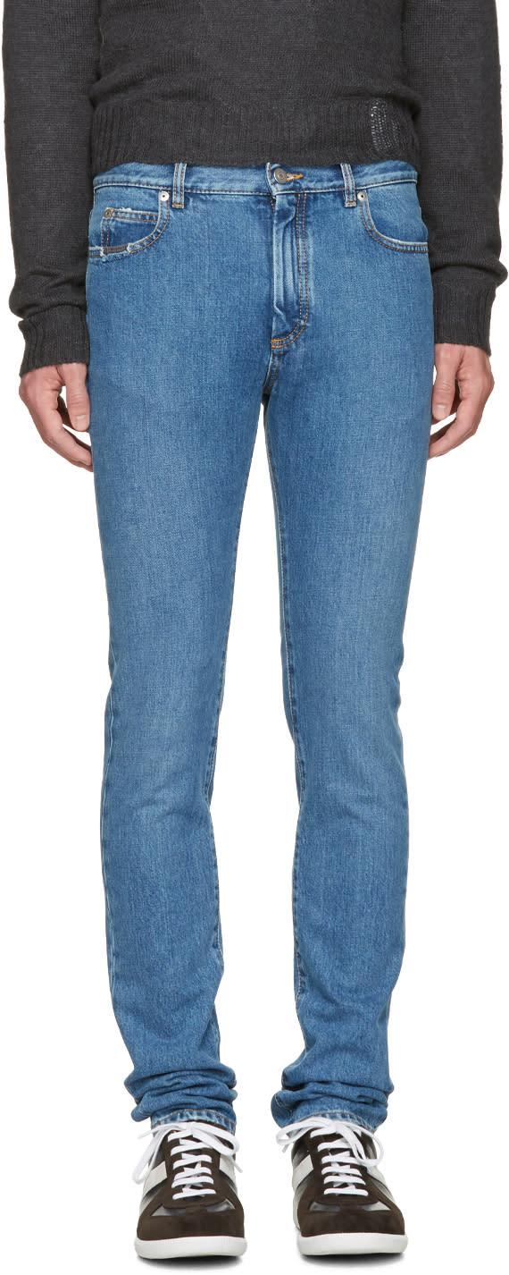 Maison Margiela Indigo Skinny Distressed Jeans